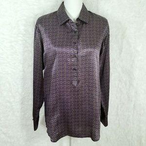 CAbi #117 Silk Geometric Popover Wheel Print Tunic